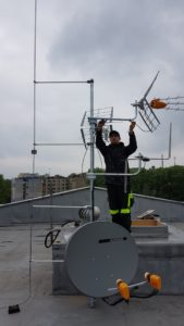 Montáž antén DVB-T/T2/S/S2/VKV/FM s oddáleným hromosvodem