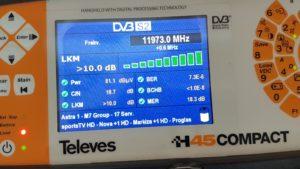 Měření DVB-S2 transpondéru 11973 MHz družice Astra 3A