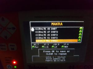Výsledky měření smíšené stanice STA po úpravách příjmu DVB-T2. Do měření včleněn pro kontrolu i příjem DVB-S2 z družice Astra 3A. Všechna měření OK. (Březová - Sklářská)